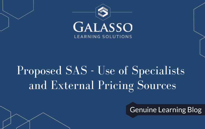 Proposed SAS – Use of Specialists and External Pricing Sources